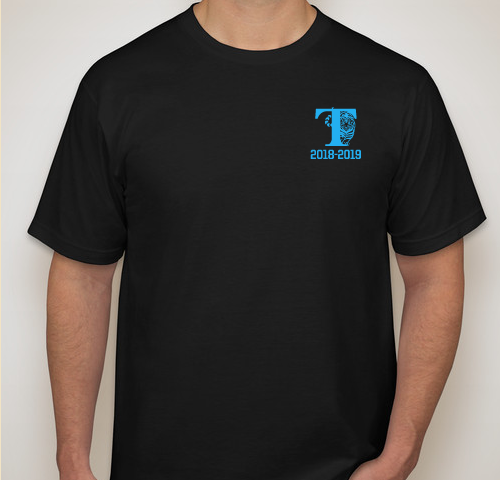 "Image of black t-shirt with blue letters reading ""T"" for Twain and ""2018-19"""